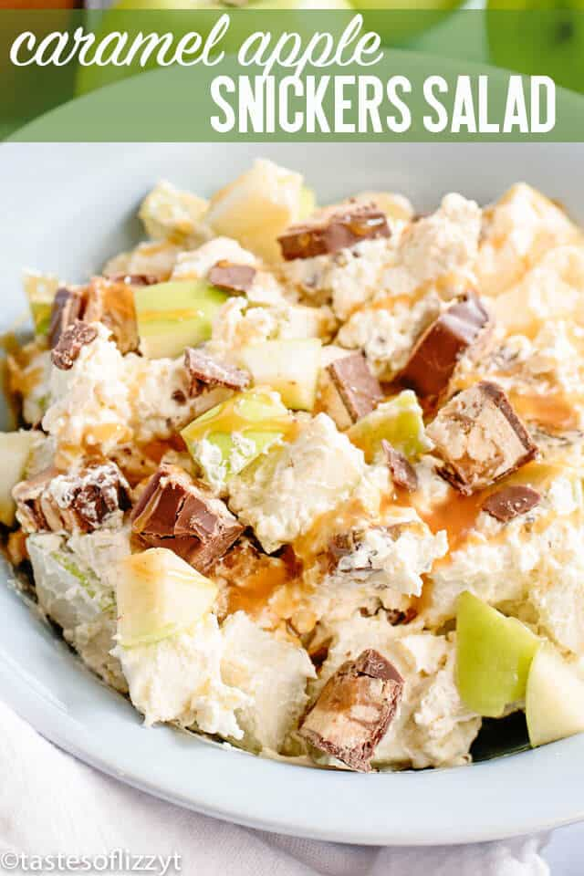 titled image (and shown): Caramel Apple Snickers Salad