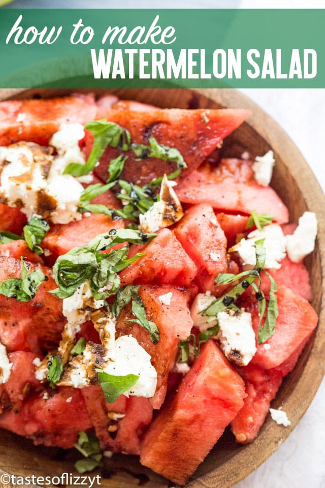 Nothing says summer picnic like this easy watermelon salad recipe. With fresh watermelon and basil, a sprinkling of feta cheese and a savory balsamic reduction, this easy summer side dish is cool and refreshing!