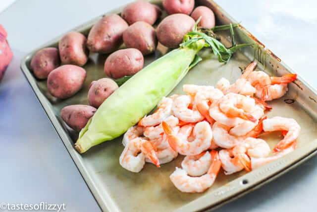 ingredients for grilled shrimp foil packets
