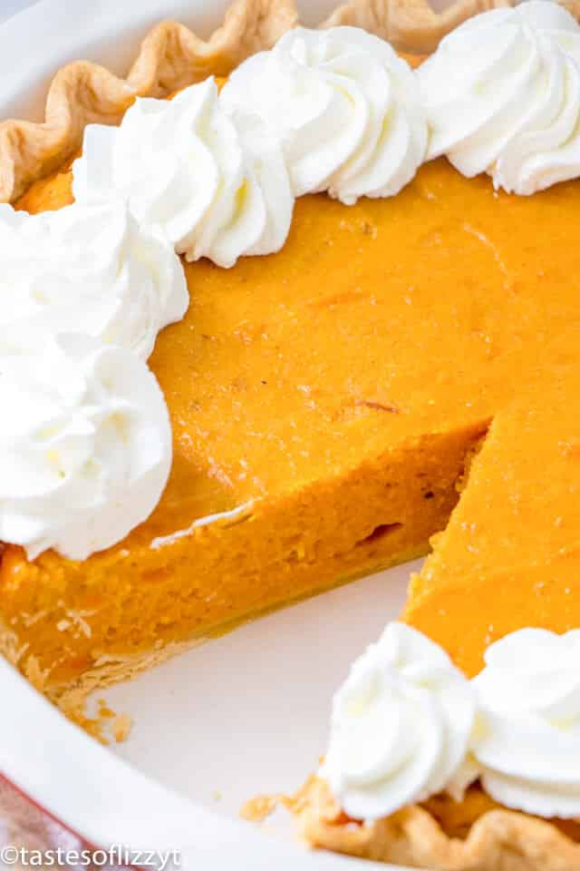 sweet potato pie recipe made from scratch with a slice removed