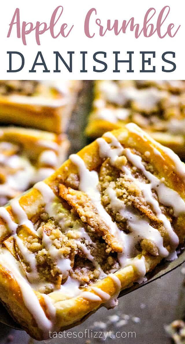 If love apple crumble, you'll love these apple crumble danishes! This easy apple recipe uses puff pastry as a base, making it perfect for brunch.