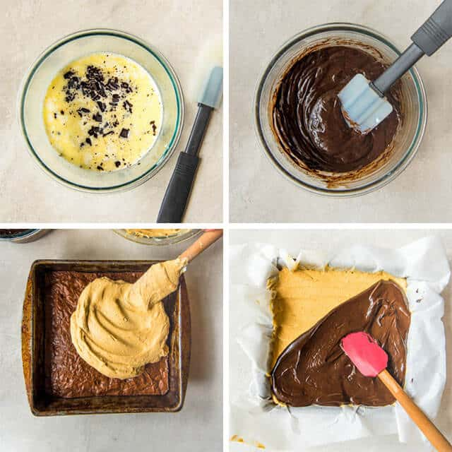 how to make 3 layer brownies with ganache