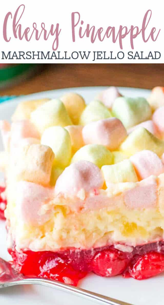 This Cherry Pineapple Marshmallow Jello Salad is a long-time family favorite recipe. There's a cherry layer paired with a tangy lemon cream cheese layer.