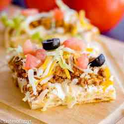 taco pizza on crescent rolls