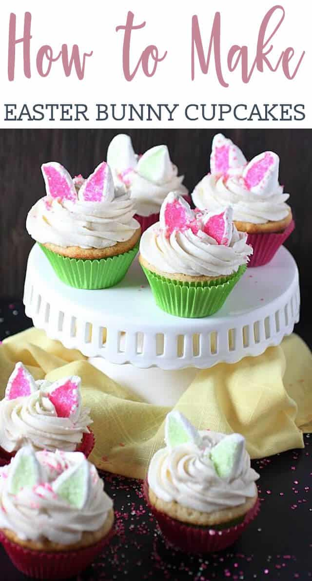 Orange vanilla bean Easter Bunny Cupcakes with a hint of citrus, piled high with a deliciously sweet frosting and topped with cute marshmallow rabbit ears (that sort of resemble kitten ears). These cupcakes are not only a fun kiddie activity, but a tasty one too!