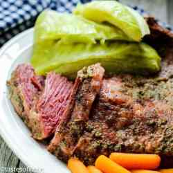 plate of corned beef with cabbage