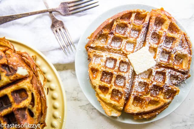 plates of French Toast Waffles with forks