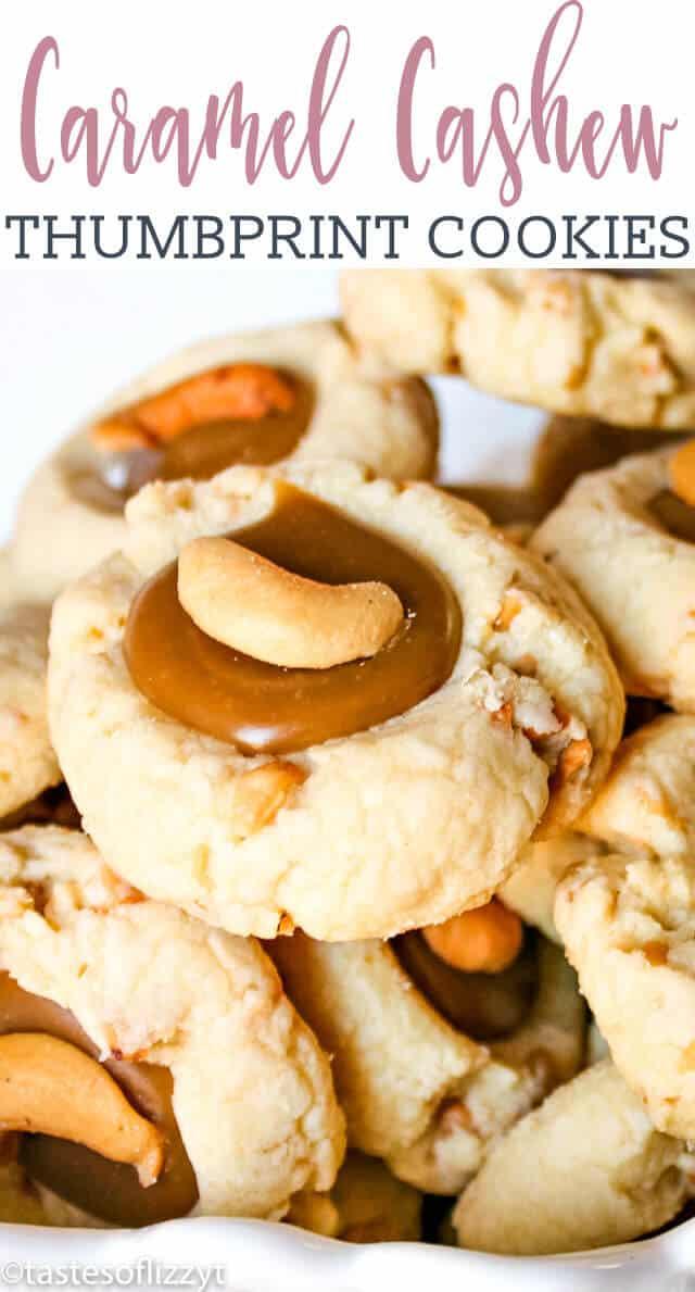 titled photo of caramel cashew thumbprint cookies
