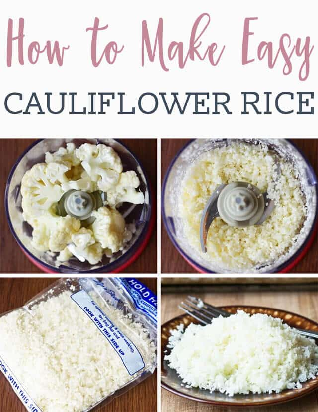 collage on how to make CAULIFLOWER RICE