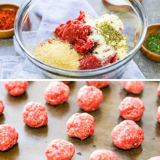 Albondigas Mexican meatball mixture and uncooked meatballs on a baking sheet