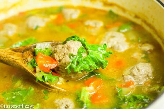 large pot of Authentic Albondigas soup