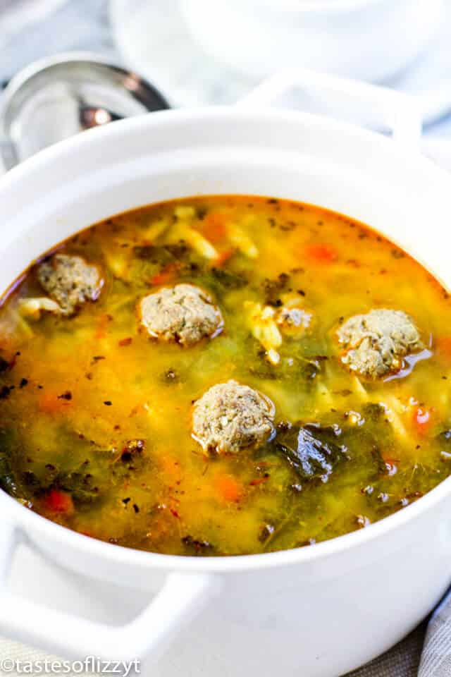 large white pot of Mexican meatball soup
