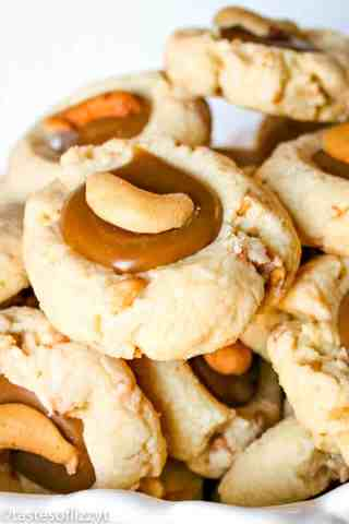 cashew thumbprint cookies with caramel filling