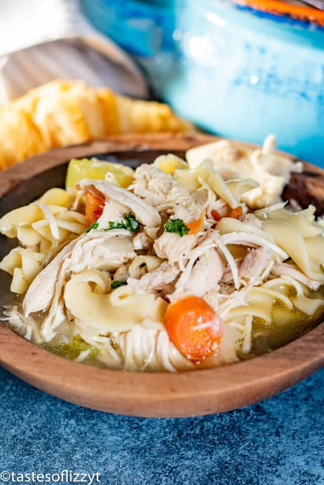 Chicken Noodle Soup in wooden bowl