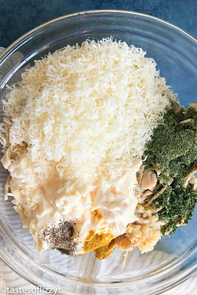 Chicken Salad ingredients in a bowl