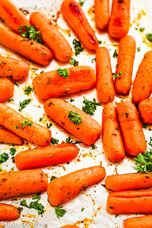 holiday side dish of roasted carrots