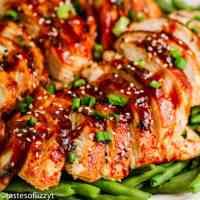 Asian BBQ Chicken on green beans