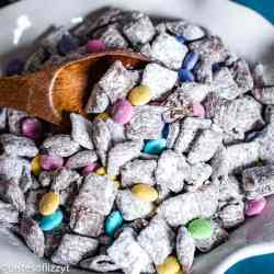 muddy buddies with m&ms