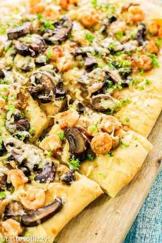 Shrimp Mushroom Flatbread Pizza with storebought dough