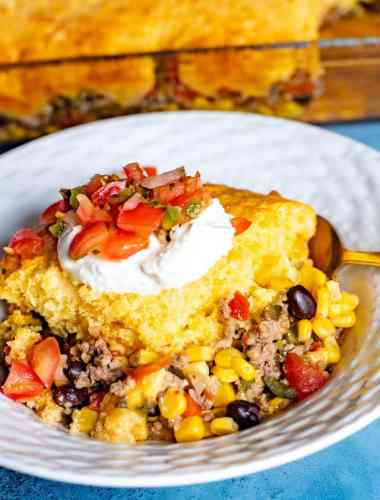 Easy Tamale Pie with fresh salsa