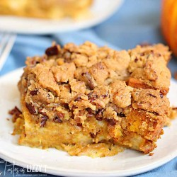 Pumpkin French Toast Casserole with streusel topping