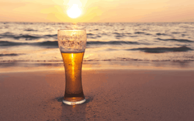 Beer on a beach in Mexico