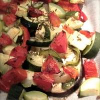 Aubergines et légumes rôtis sans matière grasse - vegan