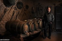 a vernaccia wine producer in his own cellar