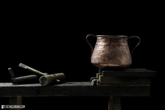 decorated traditional copper manufactured by Luigi Pitzalis coppersmith in his workshop