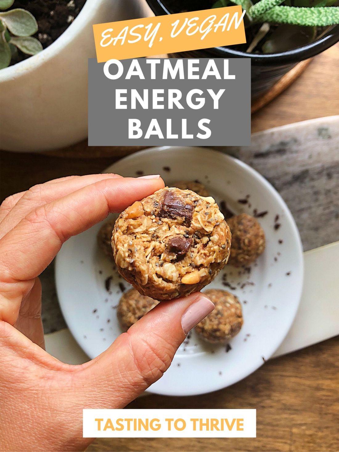 Hand holding easy oatmeal energy balls
