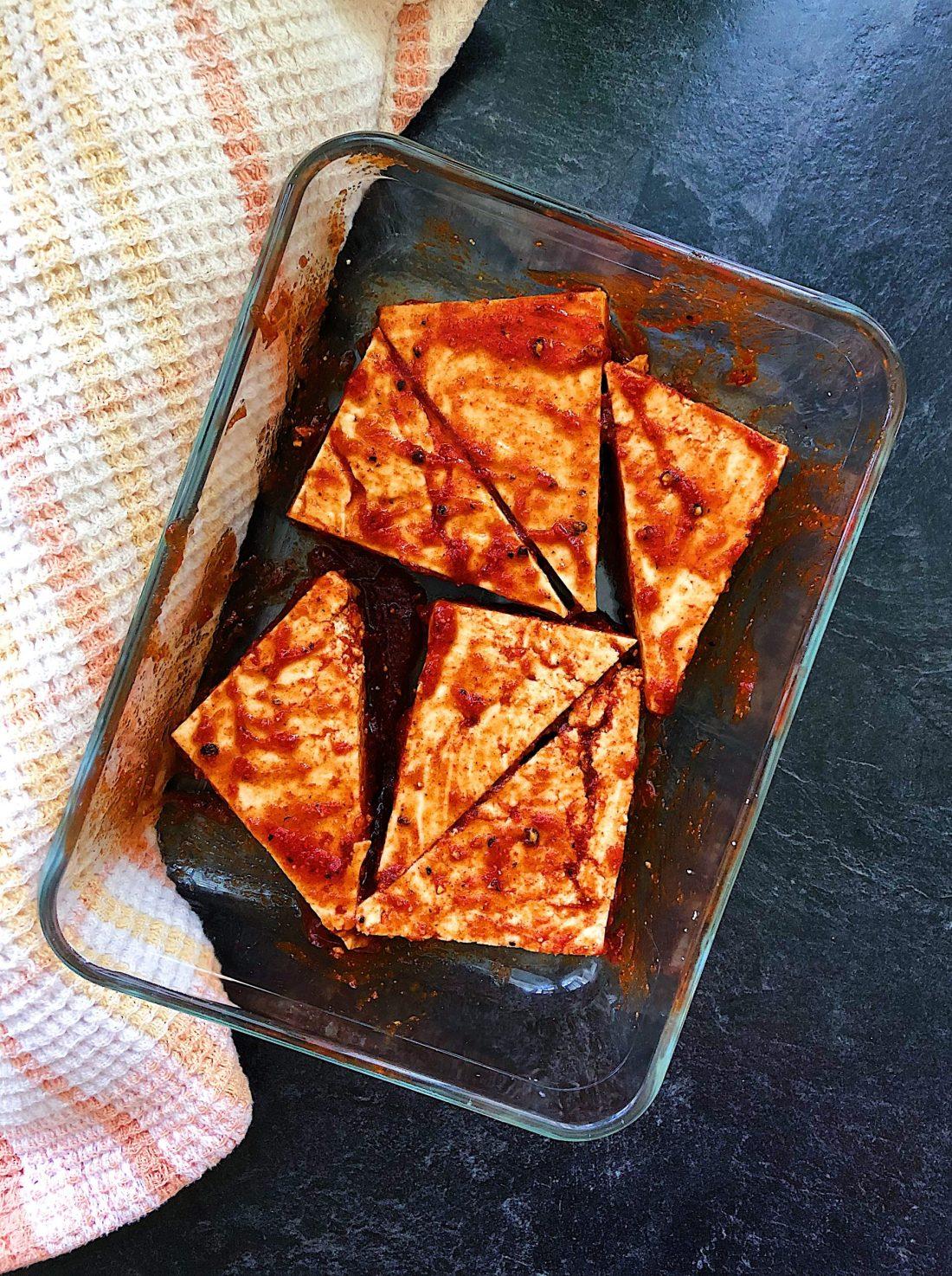 Picture of Vegan Pineapple BBQ Tofu Marinating