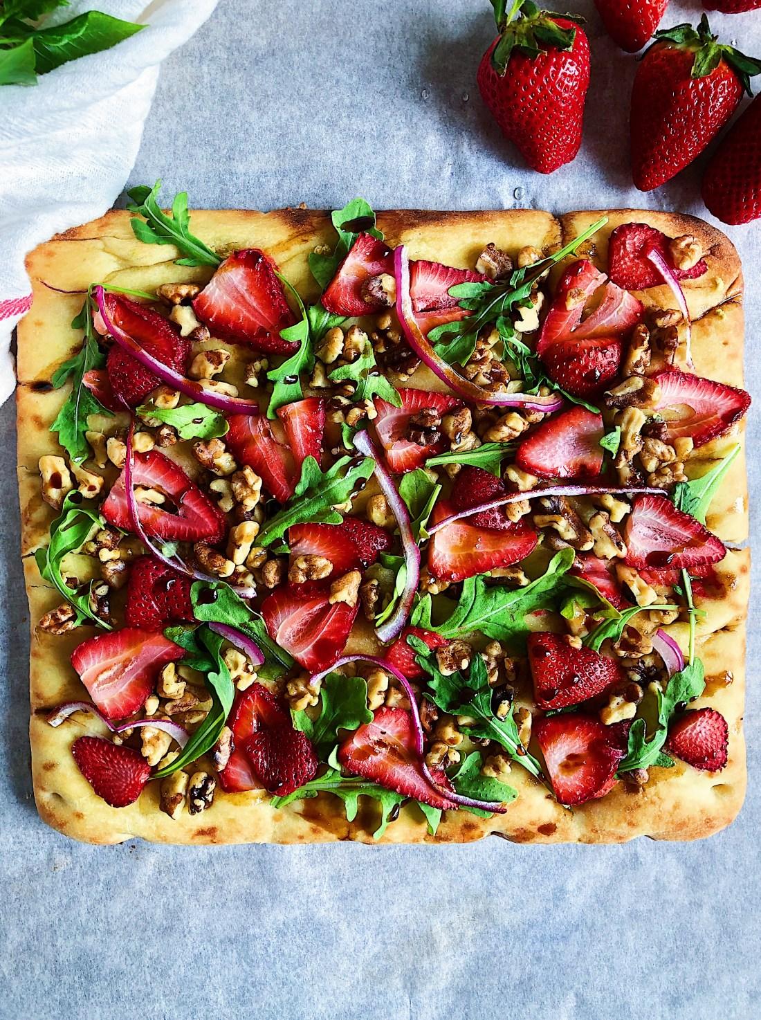 California Strawberry, Walnut & Arugula Flatbread