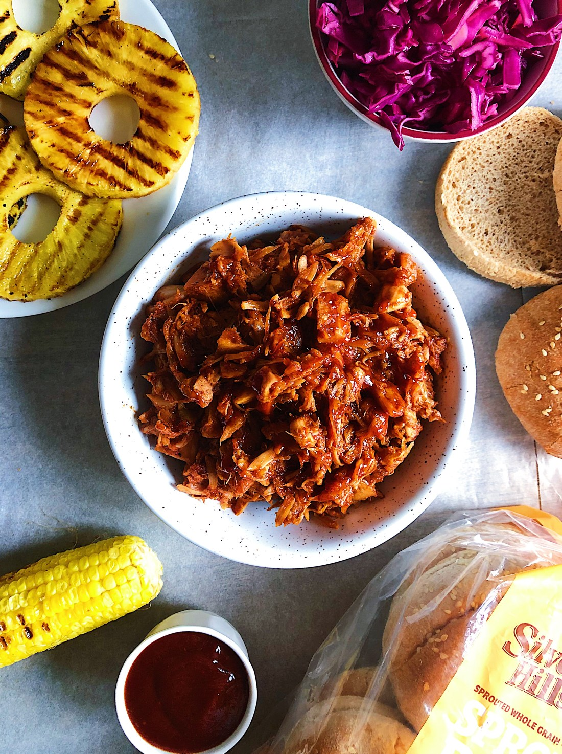 BBQ JACKFRUIT SANDWICH WITH GRILLED PINEAPPLE AND QUICK PICKLED CABBAGE