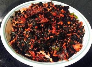 IMG_1441-300x220 Stir Fried Amaranth Leaves/Red Chawli ki Sabzi/Red Muzhai Keerai Thoran
