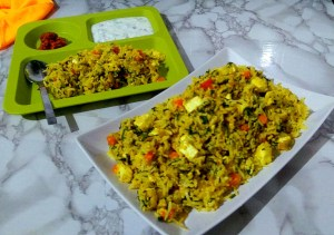 MJNG3552-300x211 Spinach Rice with Cottage Cheese/Palak Paneer Pulav