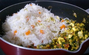 WFNC4169-300x186 Spinach Rice with Cottage Cheese/Palak Paneer Pulav