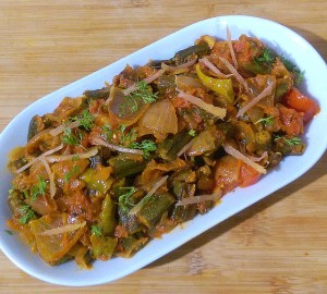 KFHC9259-300x270 Stir fried Okra in Onion Dry Curry/ Bhindi Do Pyasa