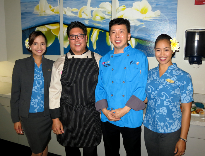 Hawaiian Airlines Flight Attendants Kanoelani And Valerie With First Class Guest Chef Jon Matsubara Executive Chai Chaowasaree 6115 HNL