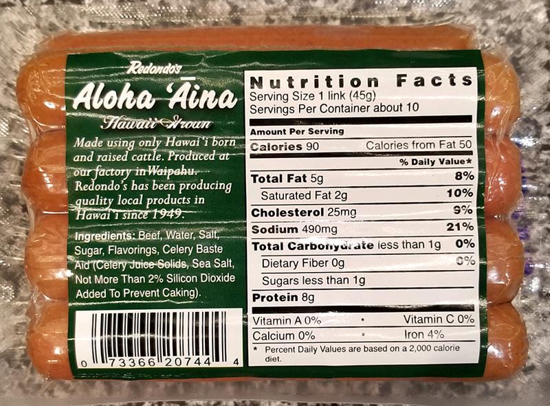 Review Redondos Aloha āina Smoked Uncured Beef Franks Tasty Island
