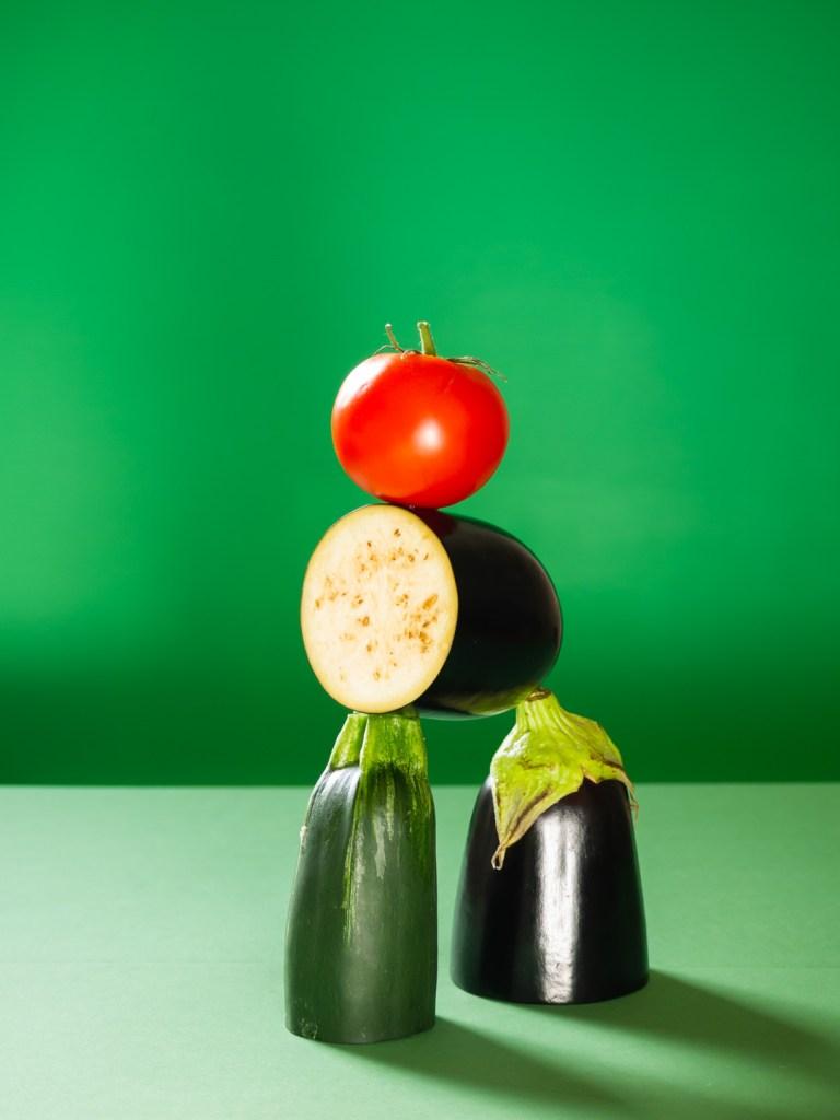 Groentetorentje met gekonfijte tomaat