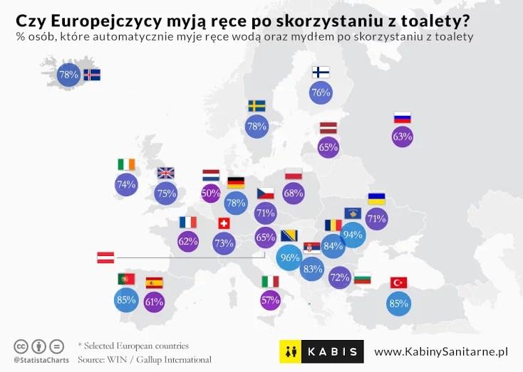 Atak koronawirusa. Mapa % ludzi, którzy myją ręce po skorzystaniu z toalety.
