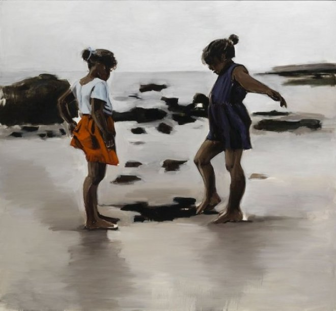A painting by Lynette Yiadom-Boakye, depicting two Black children playing on a rocky beach, under a grey sky. One child wears a navy dress and the other an orange skirt and white top: both have their hair in buns, tied in ribbons.