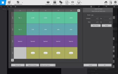 The Grid Editor contains tools for building a grid visually.