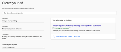 Creating the ad in Google's tool shows a live preview of how it will look.