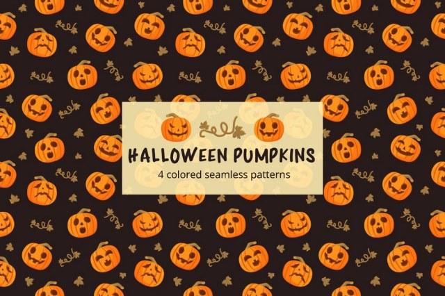Halloween Pumpkins Seamless Free Pattern