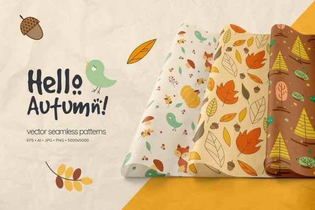 Hello Autumn Seamless Patterns