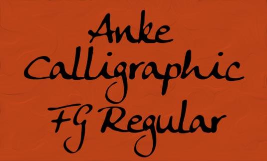 Free cursive fonts: Anke Calligraphic FG Regular