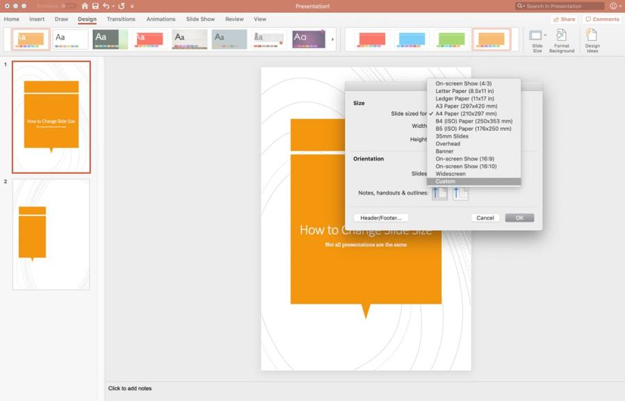 how to change slide size powerpoint