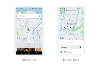 Old and new Uber search bar designs