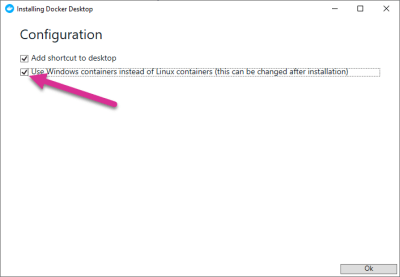 """The Docker Installation screen with """"Use Windows Containers"""" option selected"""